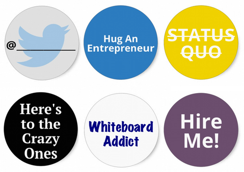 I helped develop the 2014 EntreFEST badge stickers to help you highlight your entrepreneurial talents & values. Find these (and many others) near the registration area when you check in!